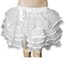 Crazy Chick 5 Layers White Angel TuTu Skirt with Ribbon (Approximately 18 Inches Long)