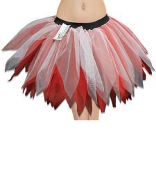Crazy Chick 6 Layer White Red Petal TuTu Skirt