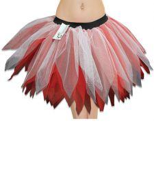 Crazy Chick 6 Layer White Red Petal TuTu Skirt