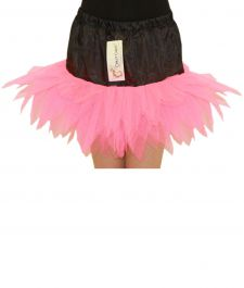 Crazy Chick Girls 6 Layers Petal Pink Black TuTu Skirt (12 Inches Long)