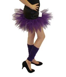 Crazy Chick Girls 6 Layers Petal Purple Black TuTu Skirt (12 Inches Long)