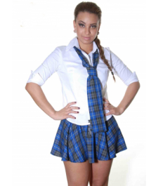 Crazy Chick Blue Grey Black Tartan Skirt with Black Bow (9 Inches)