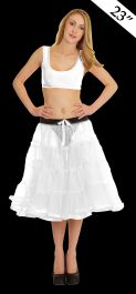 Crazy Chick 4 Tier Petticoat with Ribbon White TuTu Skirt (Approximately 23 Inches Long)