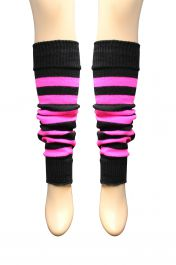 Crazy Chick Black & Fluorescent Pink Stripe Leg Warmer