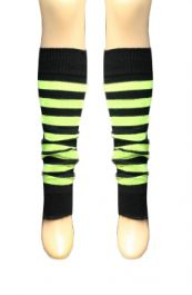 Crazy Chick Black & Fluorescent Yellow Stripe Leg Warmer
