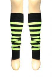 Crazy Chick Black & Fluorescent Yellow Stripe Leg Warmer