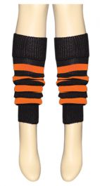 Crazy Chick Black & Orange Stripe Leg Warmer