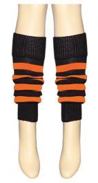 Crazy Chick Black & Orange Stripe Leg Warmer
