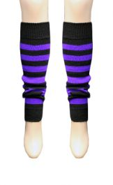 Crazy Chick Black & Purple Stripe Leg Warmer