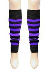 Crazy Chick Black & Purple Stripe Leg Warmer