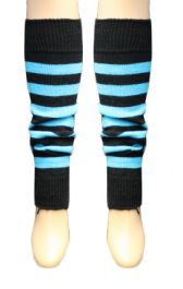 Crazy Chick Black & Turquoise Stripe Leg Warmer