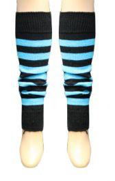 Crazy Chick Black & Turquoise Stripe Leg Warmer