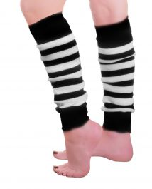 Crazy Chick Black & White Stripe Leg Warmer