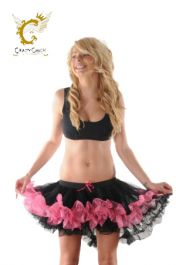 Crazy Chick Black Pink Burlesque Ruffle TuTu Skirt