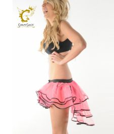 Crazy Chick 3 Layers Pink Black Burlesque TuTu Skirt