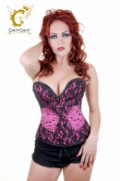 Crazy Chick Deluxe Pink Black Sequin Corset (Steel Boned)
