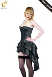Crazy Chick Full Bust Bustle Corset Black (Steel Bone)