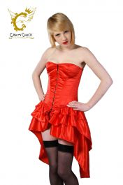 Crazy Chick Full bust Bustle Corset Red (Steel Boned)