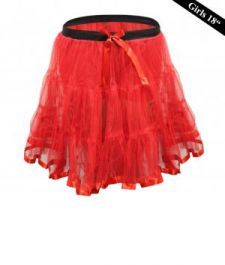 Crazy Chick Girls 2 Layers Red Devil Petticoat TuTu Skirt (18 Inches Long)