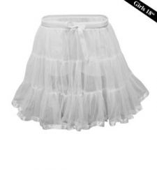 Crazy Chick Girls 2 Layers White Petticoat TuTu Skirt (18 Inches Long)