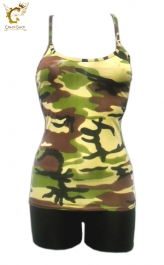 Microfiber Crazy Chick Girls Camouflage Vest Top
