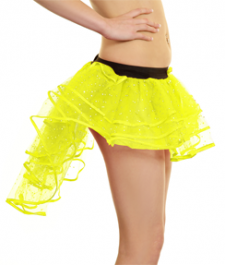 Crazy Chick Girls Sequin Yellow Burlesque TuTu Skirt