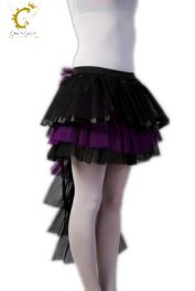 Crazy Chick Long Tail Black Purple Burlesque TuTu Skirt