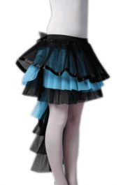 Crazy Chick Long Tail BlackTurquoise Burlesque TuTu Skirt