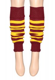 Crazy Chick Maroon Yellow Stripe Leg Warmer