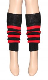 Crazy Chick Red Black Stripe Leg Warmer