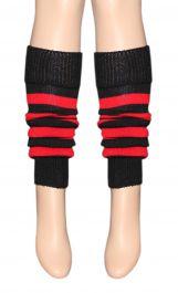 Crazy Chick Red Black Stripe Leg Warmer