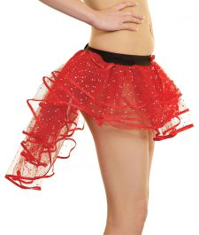 Crazy Chick Sequin Red Burlesque TuTu Skirt