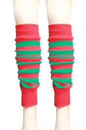 Crazy Chick Red & Green Stripe Leg Warmer