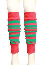 Crazy Chick Red & Green Stripe Leg Warmer