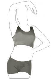 Crazy Chick Shiny Lycra Dark Grey Tank Crop Top