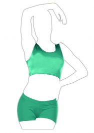 Crazy Chick Shiny Lycra Jade Green Tank Crop Top