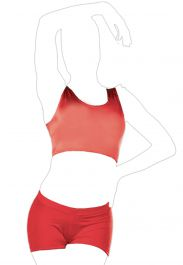 Crazy Chick Shiny Lycra Red Tank Crop Top