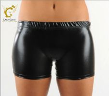 Crazy Chick Shiny Metallic Hot Pants Black