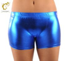 Crazy Chick Shiny Metallic Hot Pants Blue