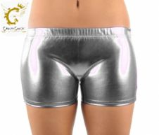 Crazy Chick Shiny Metallic Hot Pants Silver