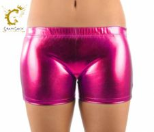 Crazy Chick Shiny Metallic Hot Pants Hot Pink
