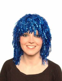 Crimped Blue Tinsel Wig