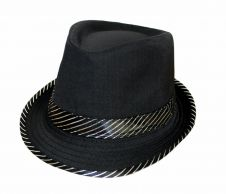 Fashion Black Trilby Hat W/Silver Stripe