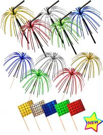 Foil Pick Straw & Flags (36 Pcs)