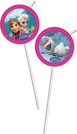 Frozen Straws with Decals Pack of 6