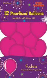 Fuchsia Pearlised Balloons (Pack of 12)
