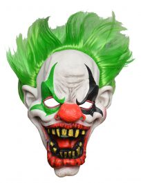 Full Head Horror Clown Mask Green Hair