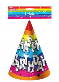Funky Birthday Party Hats (Pack of 8)
