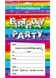 Funky Brithday Party Invites & Envelopes (Pack of 14)