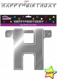 Giant Silver Birthday Letter Banner